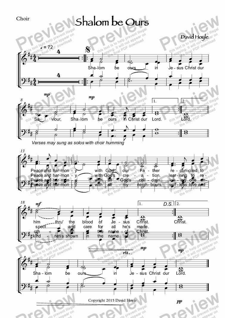 page one of the Choir part from Shalom be Ours