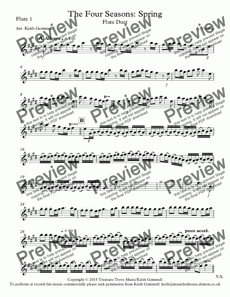 page one of the Flute 1 part from The Four Seasons: Spring: Flute Duet