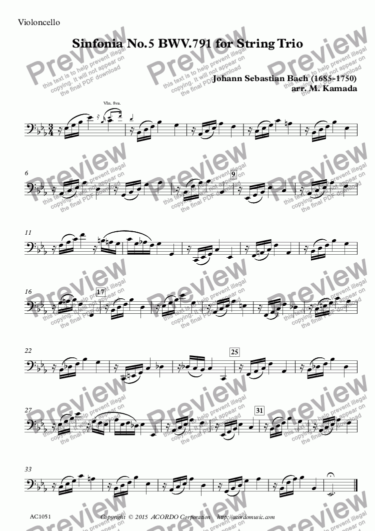 page one of the Violoncello part from Sinfonia No.5 BWV.791 for String Trio