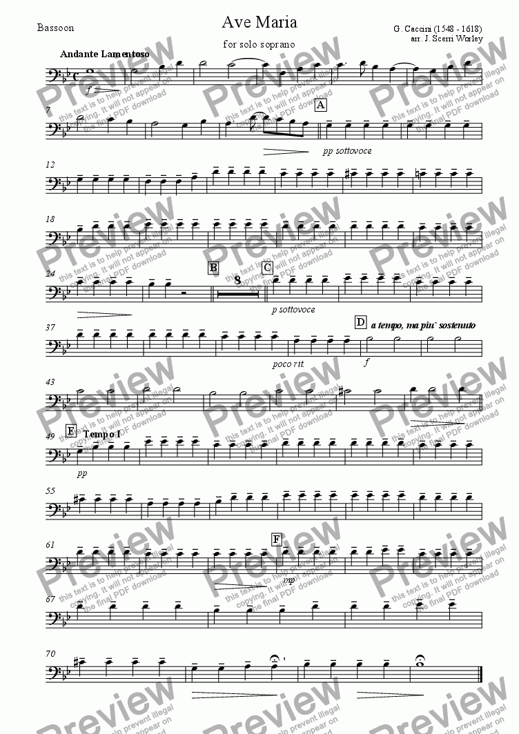 page one of the Bassoon part from Ave Maria