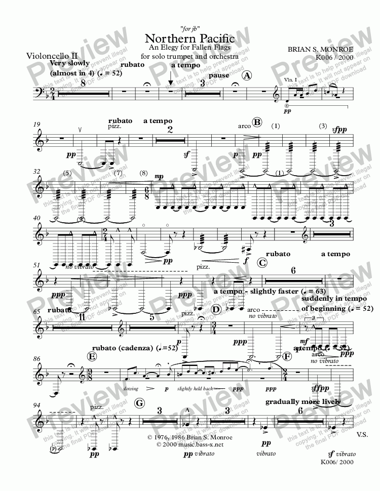 page one of the Violoncello II part from Northern Pacific