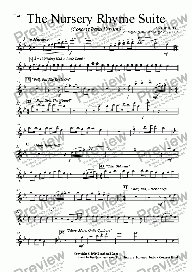 page one of the Flute part from The Nursery Rhyme Suite - Concert Band