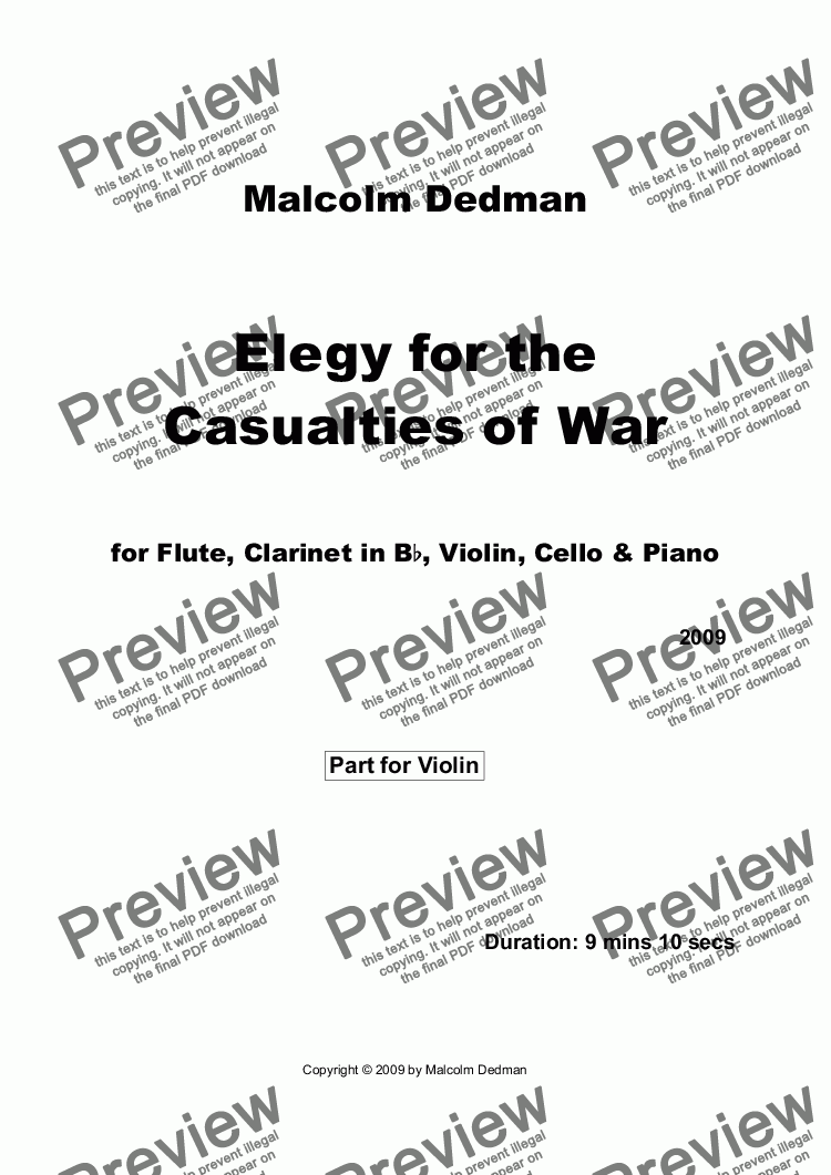 page one of the Violin part from Elegy for the Casualties of War