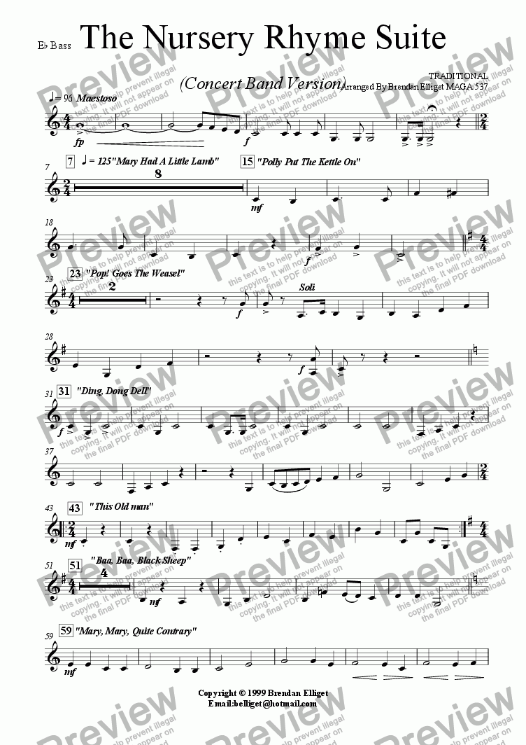 page one of the Eb Bass part from The Nursery Rhyme Suite - Concert Band