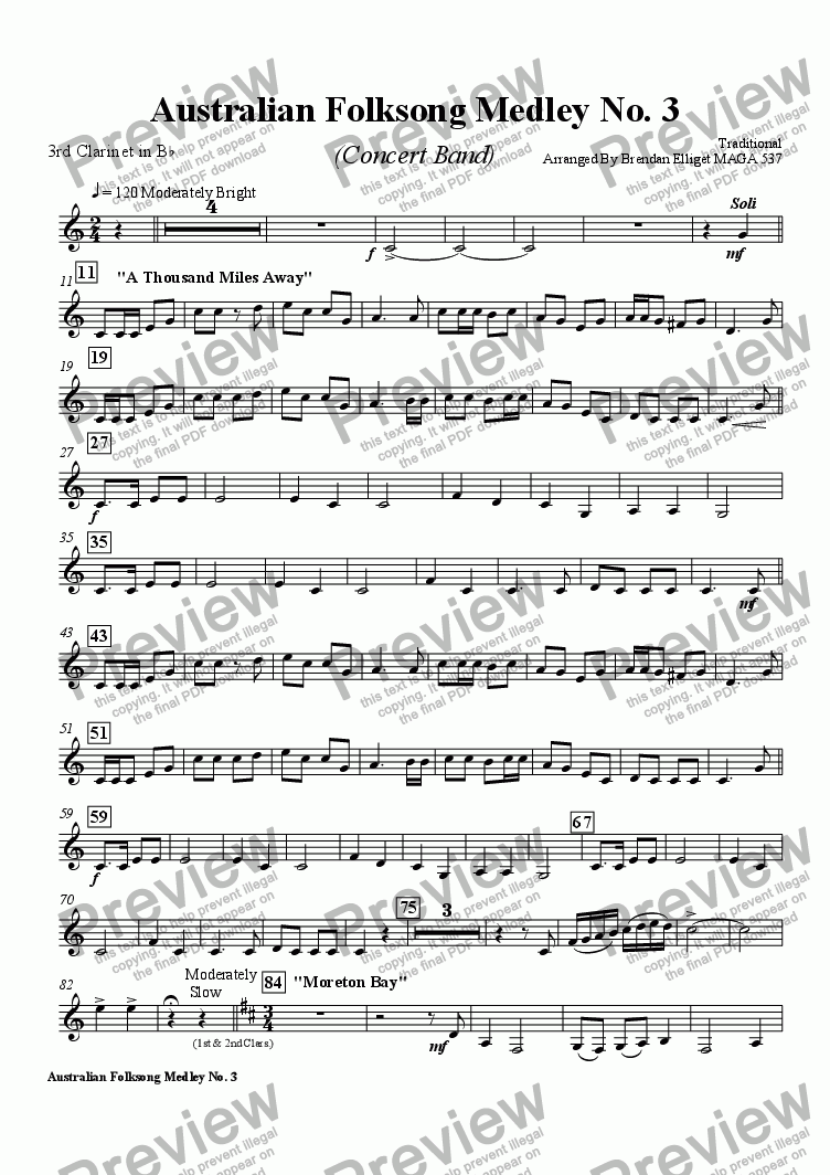 page one of the Clarinet 3 part from Australian Folksong Medley No. 3 - Concert Band