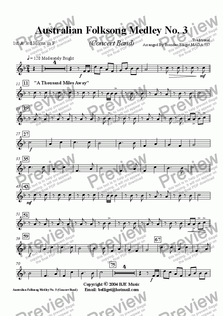 page one of the F Horn 1 part from Australian Folksong Medley No. 3 - Concert Band