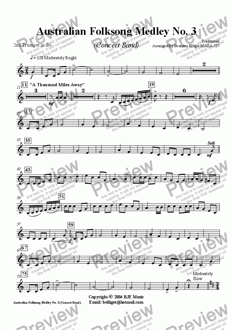 page one of the Trumpet 2 part from Australian Folksong Medley No. 3 - Concert Band
