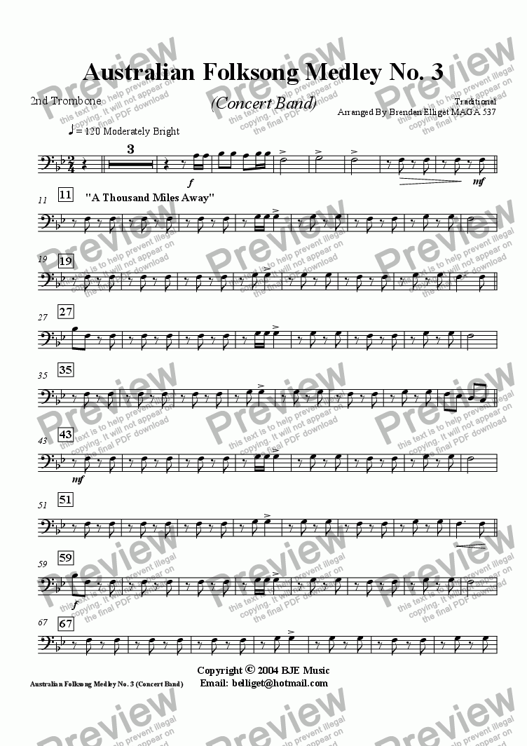 page one of the Trombone 2 part from Australian Folksong Medley No. 3 - Concert Band