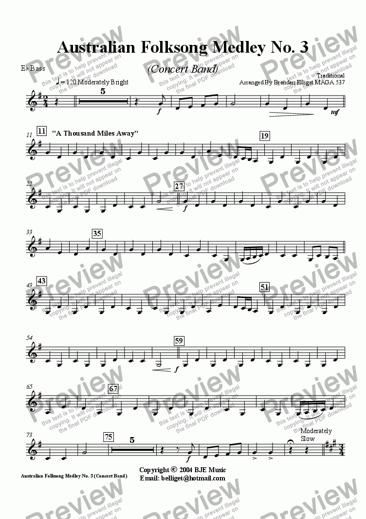 page one of the Bass Eb part from Australian Folksong Medley No. 3 - Concert Band