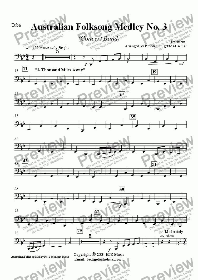 page one of the Tuba part from Australian Folksong Medley No. 3 - Concert Band