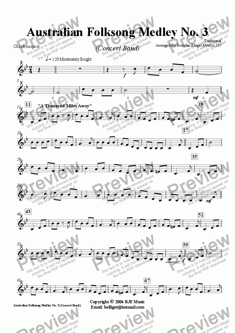 page one of the Glockenspiel part from Australian Folksong Medley No. 3 - Concert Band