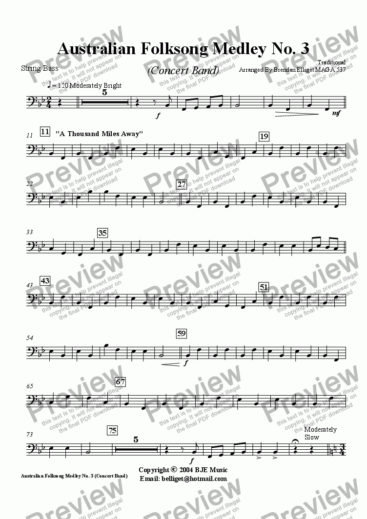 page one of the String Bass part from Australian Folksong Medley No. 3 - Concert Band
