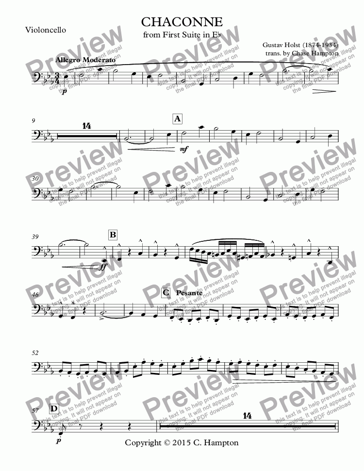 page one of the Violoncello part from Chaconne from First Suite in Eb