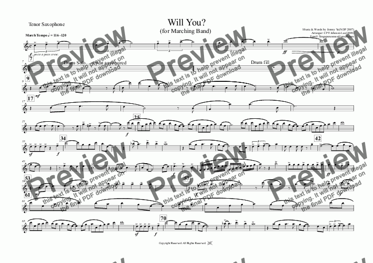 page one of the Tenor Saxophone part from Will You?  (for Marching Band)