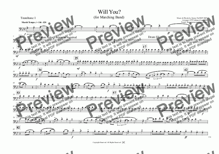 page one of the Trombone 1 part from Will You?  (for Marching Band)