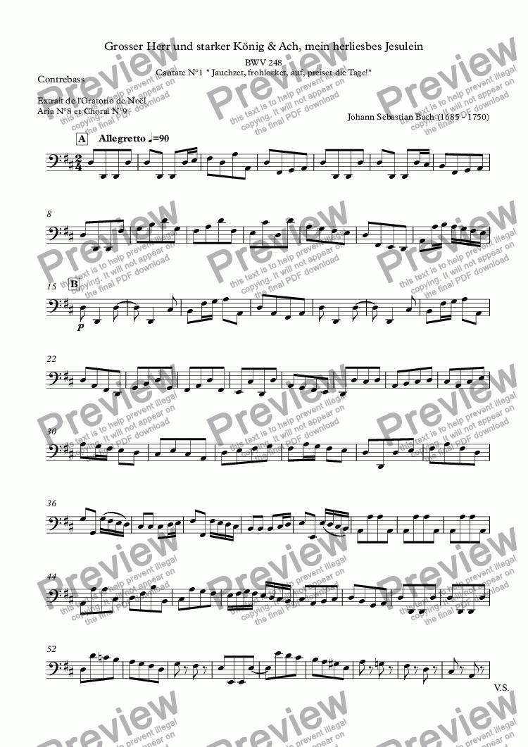 page one of the Contrebasse part from Grosser Herr und starker König & Ach, mein herliesbes Jesulein