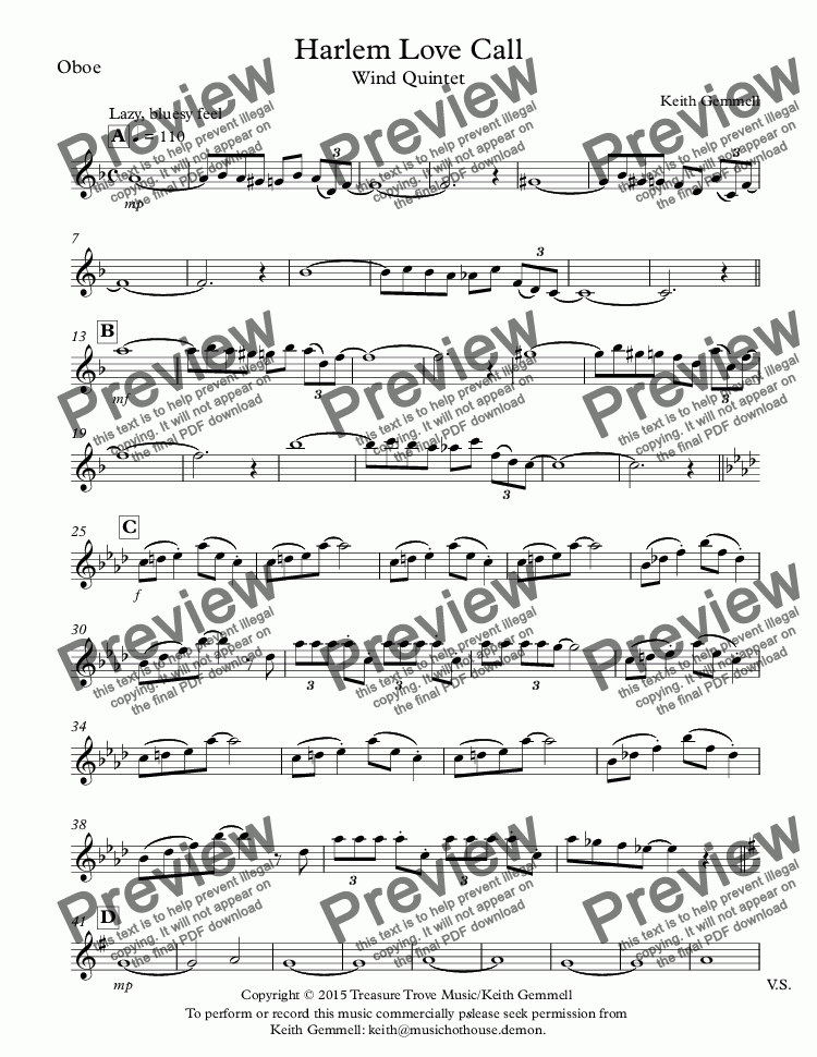 page one of the Oboe part from Harlem Love Call:Wind Quintet