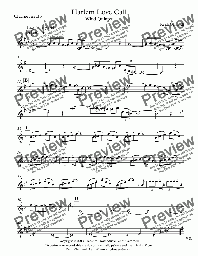 page one of the Clarinet in Bb part from Harlem Love Call:Wind Quintet