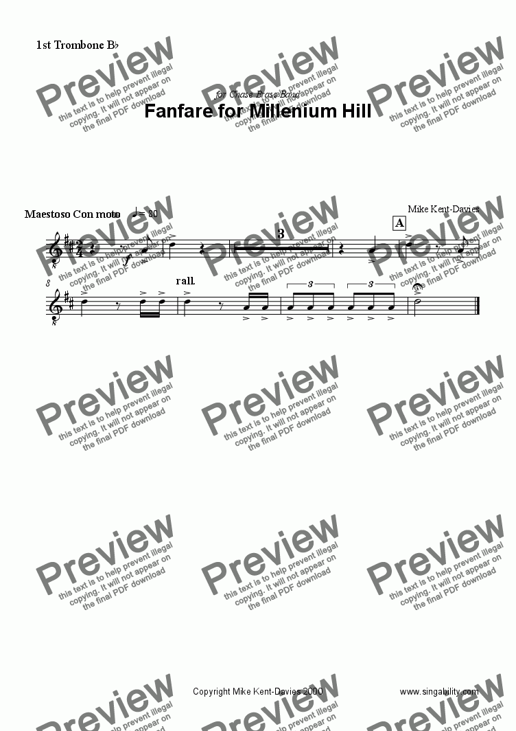 page one of the 1st Trombone part from Fanfare for Millenium Hill