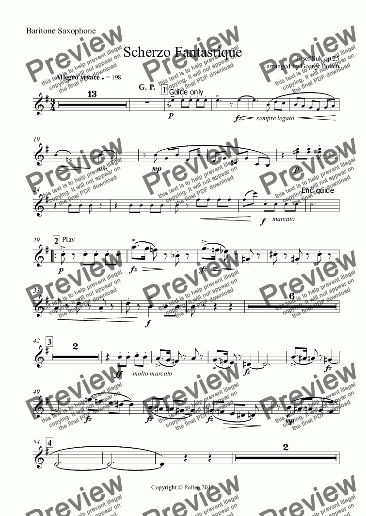 page one of the Baritone Saxophone part from Scherzo Fantastique Op. 25 (CB)