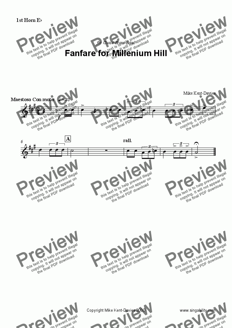page one of the 1st Horn part from Fanfare for Millenium Hill