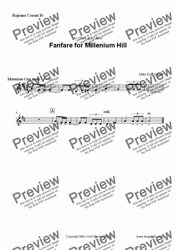 page one of the Repiano Cornet part from Fanfare for Millenium Hill