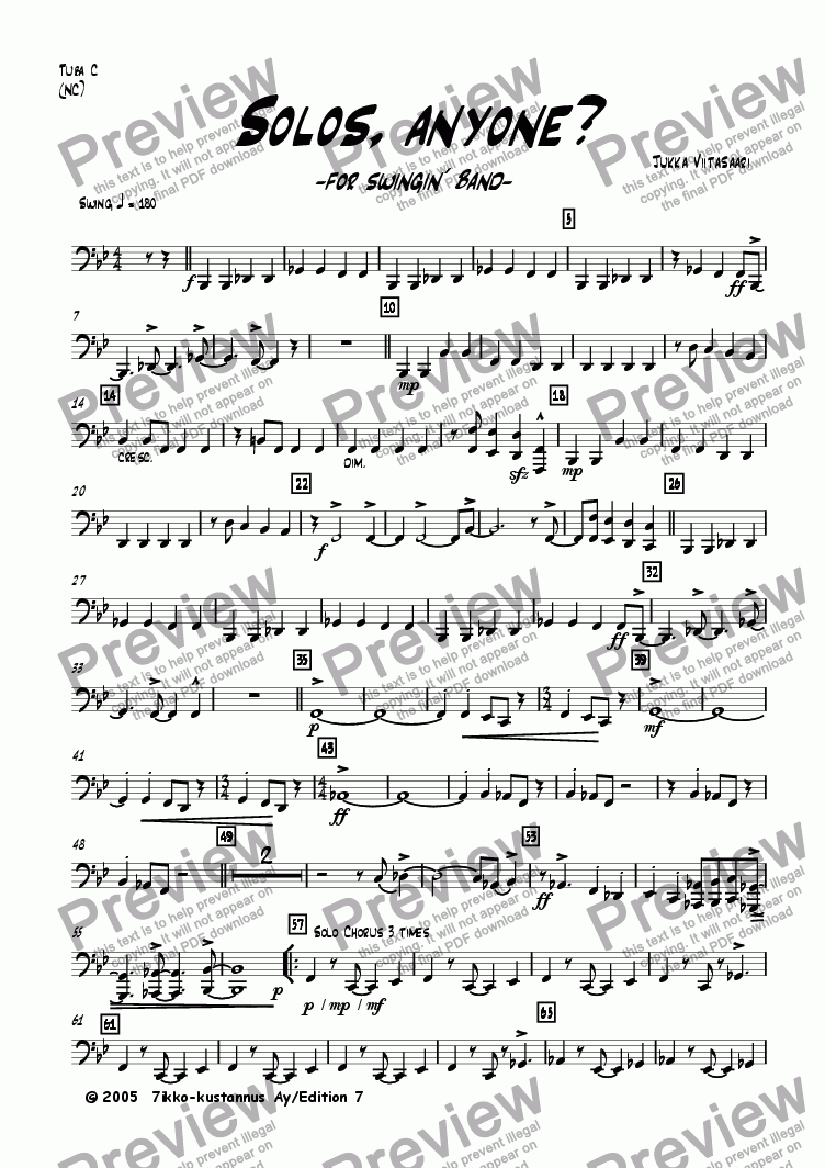 page one of the Tuba in C (no chords) part from Solos, anyone? (for swingin´ band)