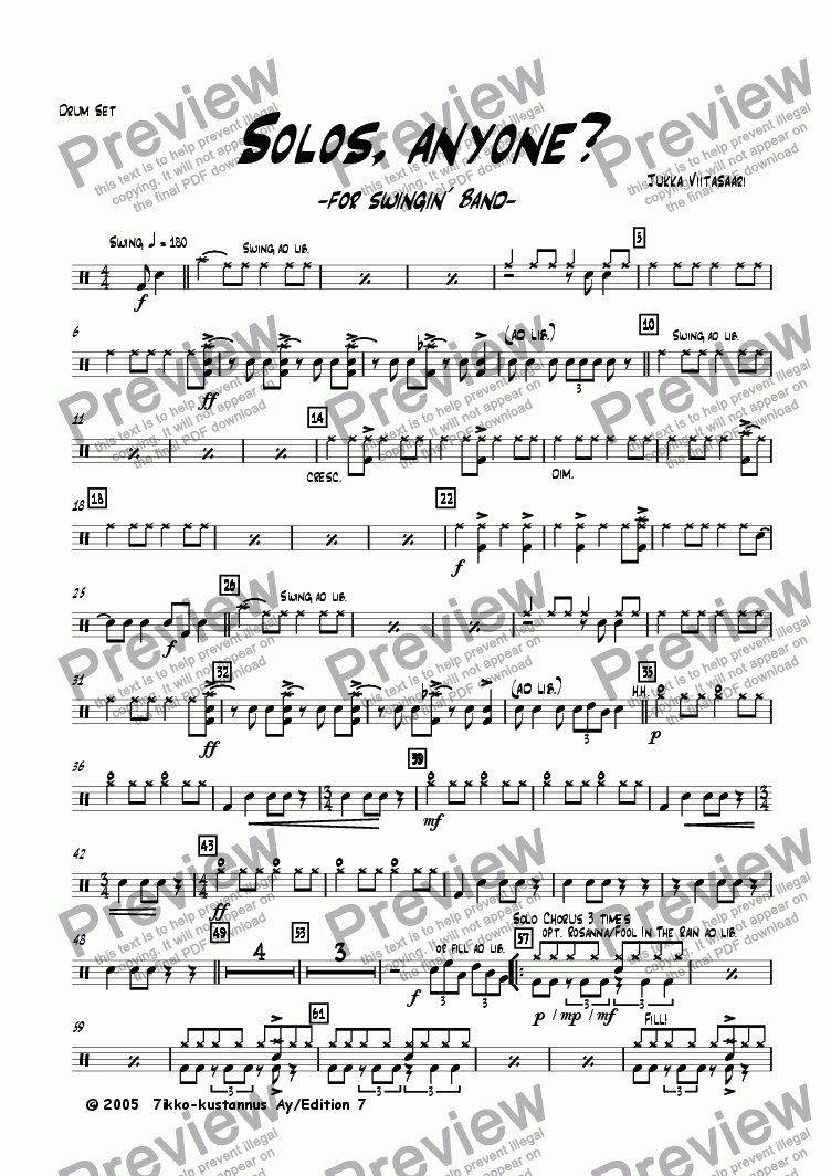 page one of the Drum Set part from Solos, anyone? (for swingin´ band)