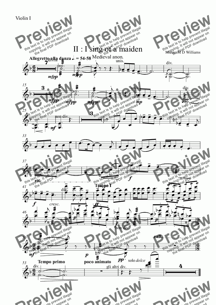 page one of the Violin I part from II : I sing of a maiden