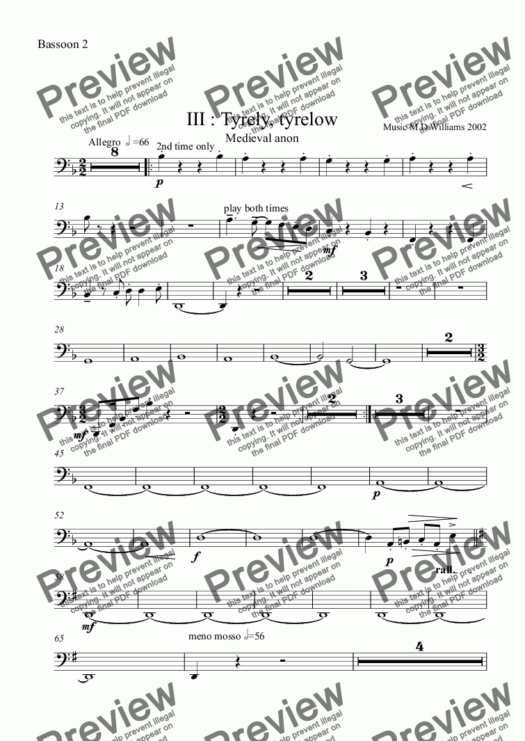 page one of the Bassoon 2 part from III : Tyrely, tyrelow