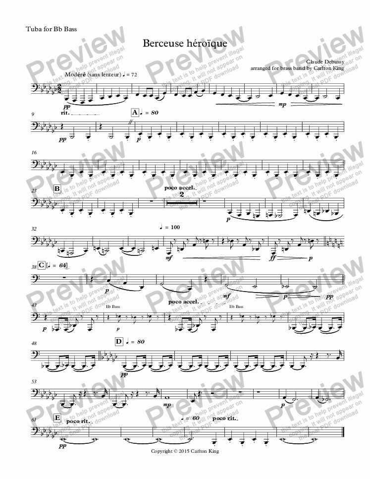 page one of the Tuba for Bb Bass part from Berceuse héroïque