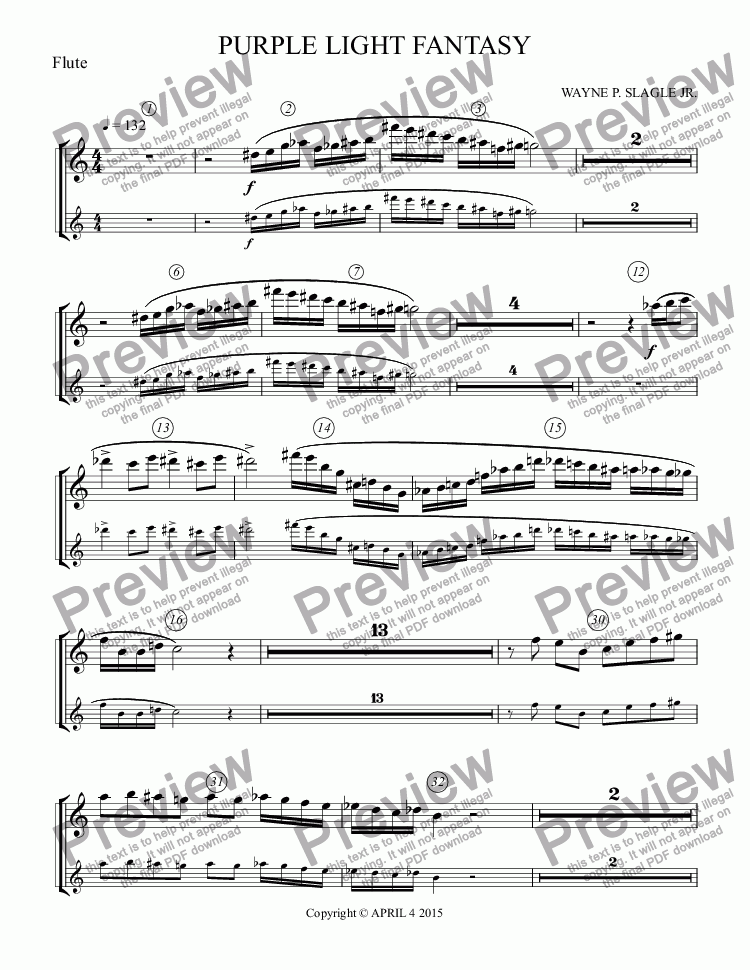 page one of the Flute part from PURPLE LIGHT FANTASY