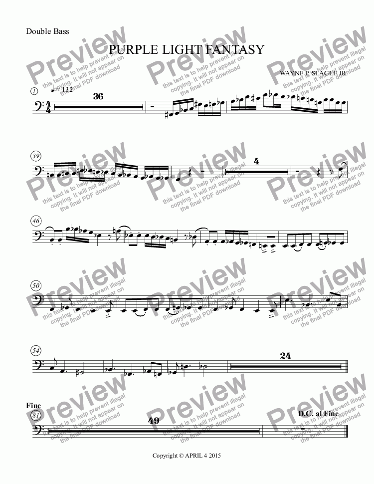 page one of the Double Bass part from PURPLE LIGHT FANTASY