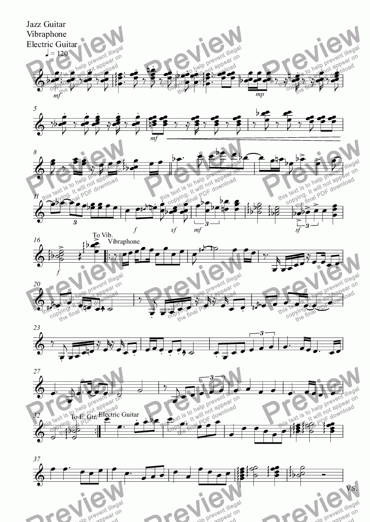 page one of the Jazz Guitar, Vibraphone, Electric Guitar part from The flowers dancing