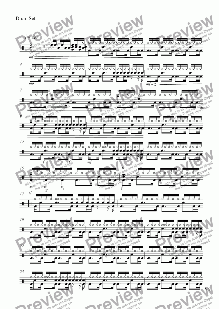 page one of the Drum Set part from The flowers dancing