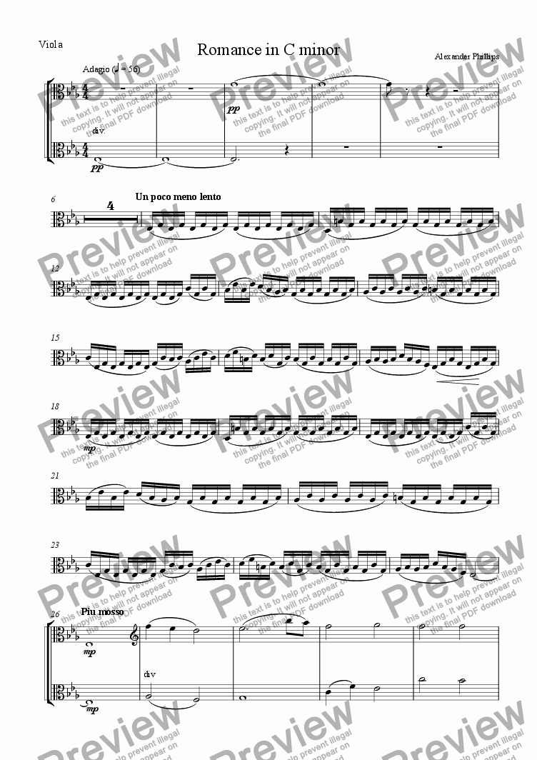 page one of the Viola part from Romance in C minor