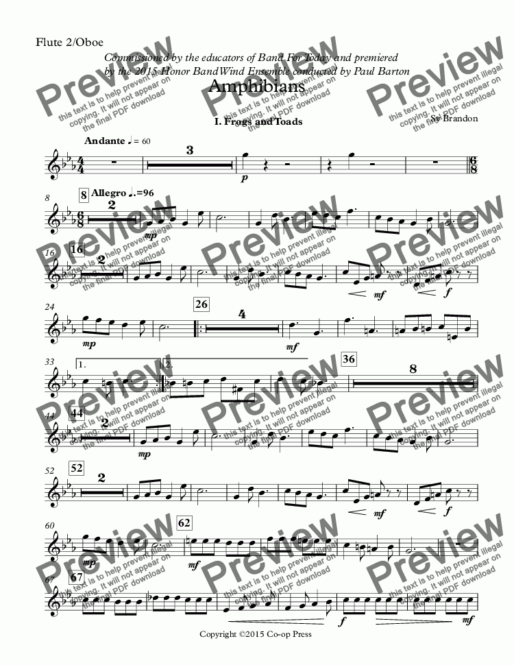 page one of the Flute 2/Oboe part from Amphibians