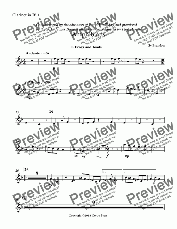 page one of the Clarinet in B^b 1 part from Amphibians