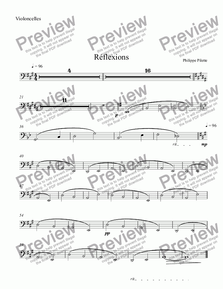 page one of the Violoncelles part from Réflexions
