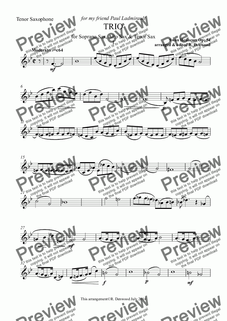 page one of the Tenor Saxophone part from Hennessy - Trio Op. 54 for 3 saxes S.A.T.