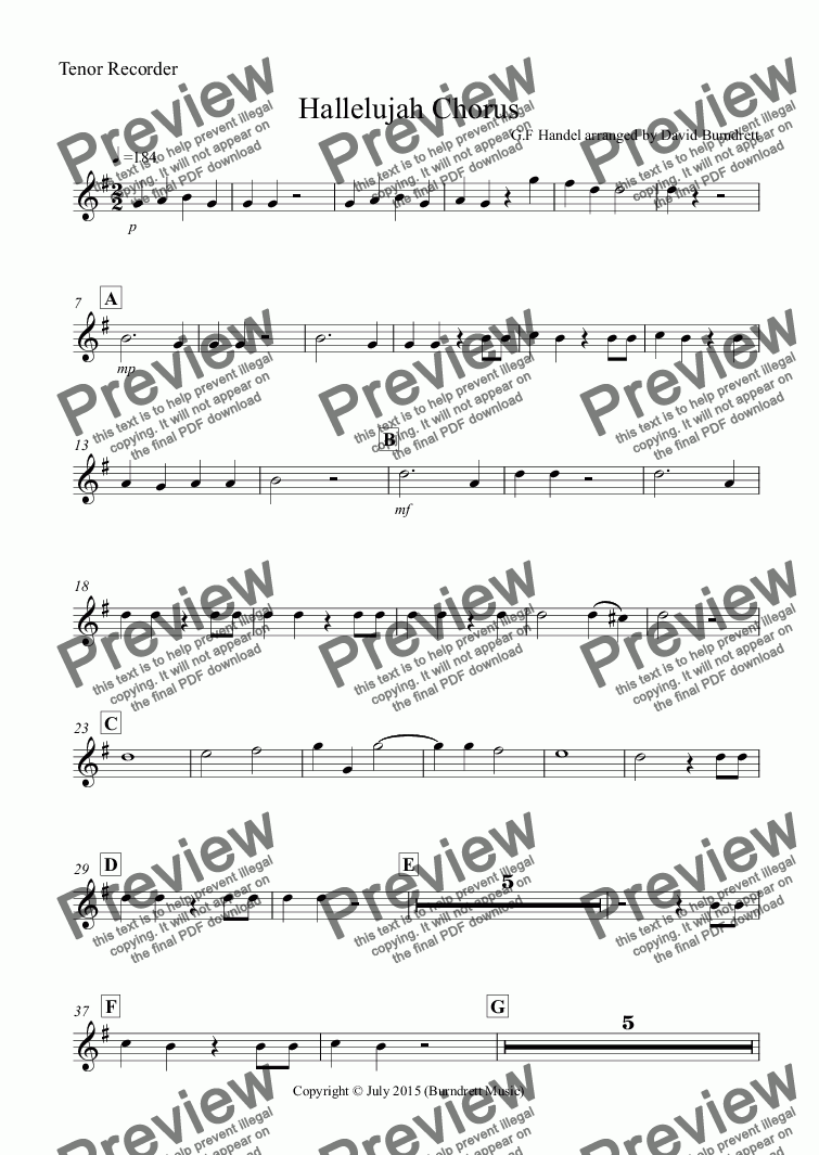 page one of the Tenor Recorder part from Hallelujah Chorus for Recorder Quartet