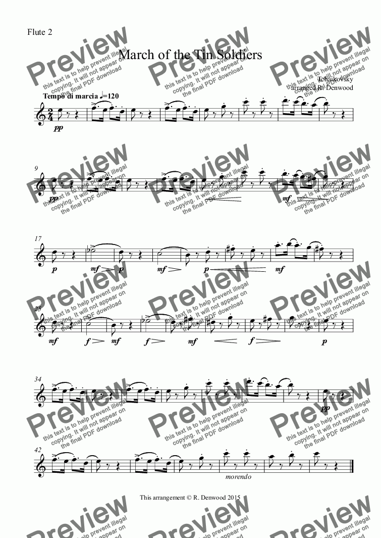 page one of the Flute 2 part from Tchaikovsky - March of the Tin Soldiers for 4 Flutes