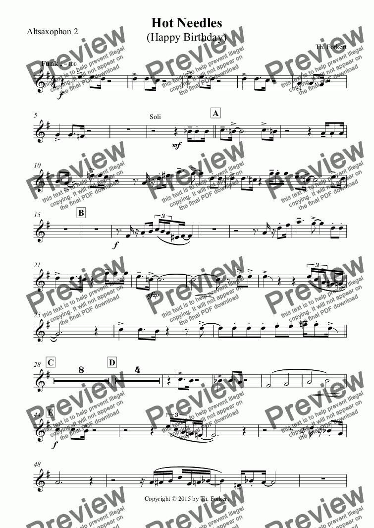 page one of the Altsaxophon 2 part from Hot Needles (Happy Birthday)