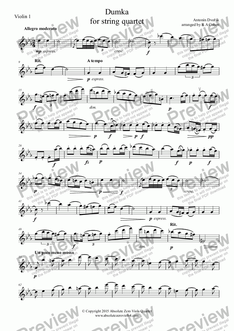 page one of the Violin 1 part from Dvořák - DUMKA - for string quartet