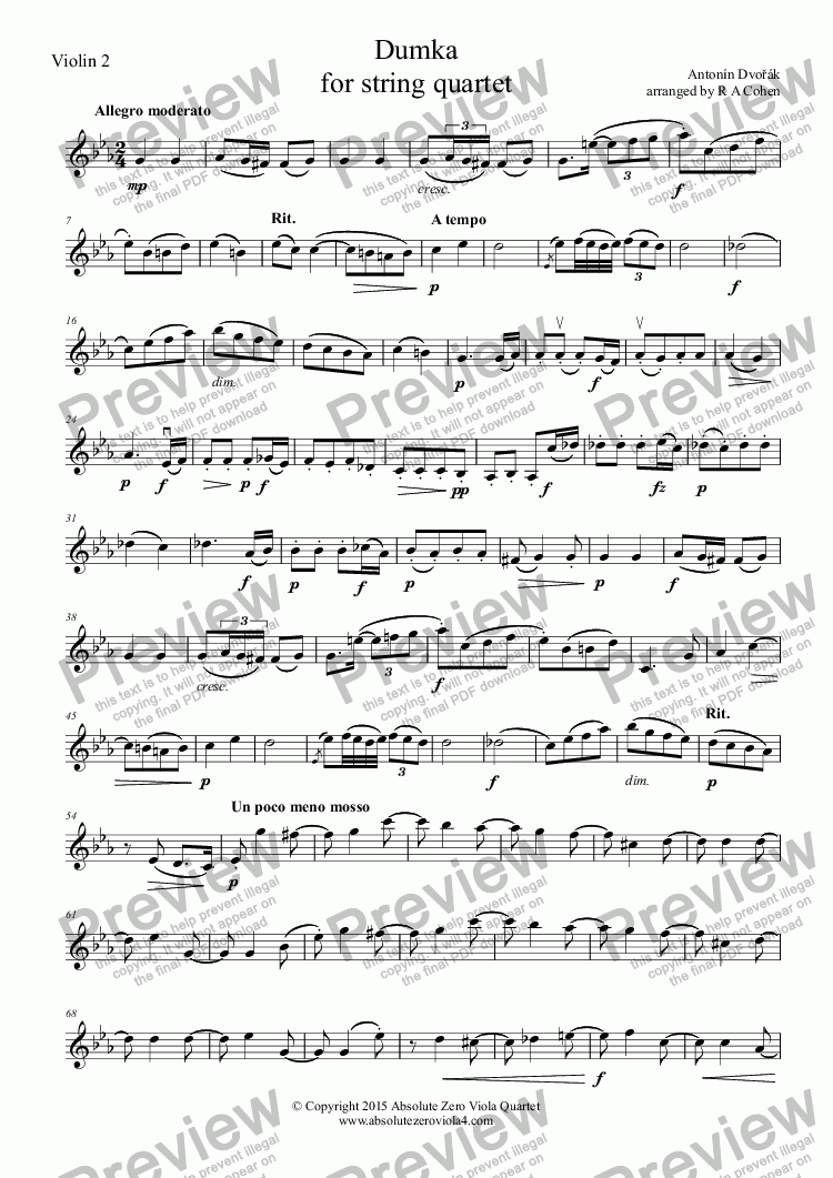 page one of the Violin 2 part from Dvořák - DUMKA - for string quartet