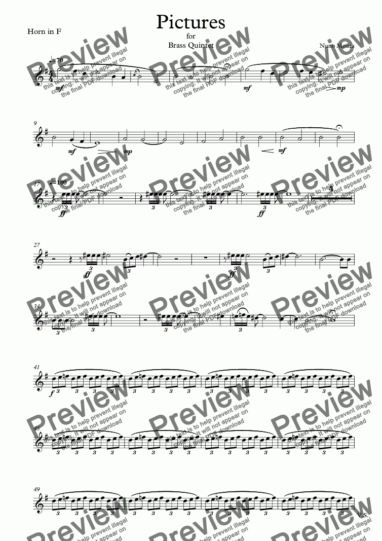 page one of the Horn in F part from Pictures for Brass Quintet