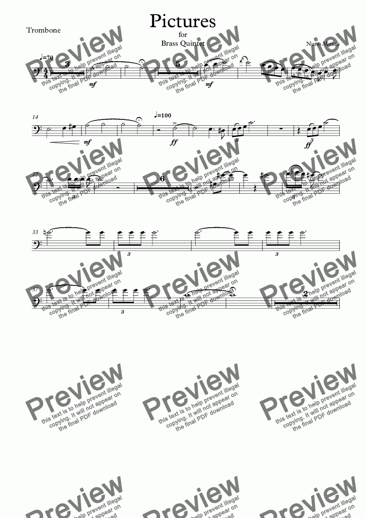 page one of the Trombone part from Pictures for Brass Quintet