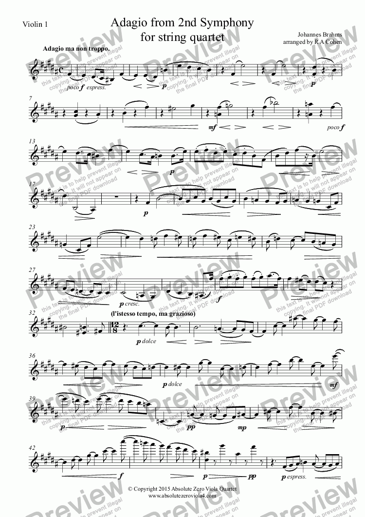 page one of the Violin 1 part from Brahms - ADAGIO from 2nd Symphony - for string quartet
