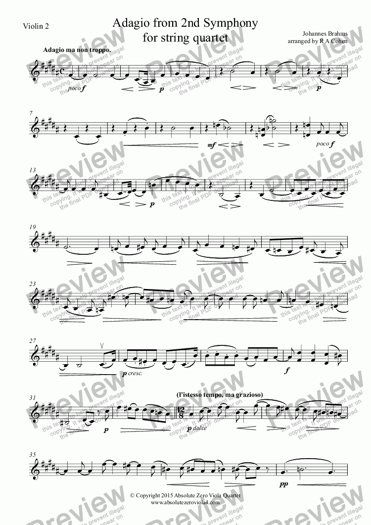 page one of the Violin 2 part from Brahms - ADAGIO from 2nd Symphony - for string quartet