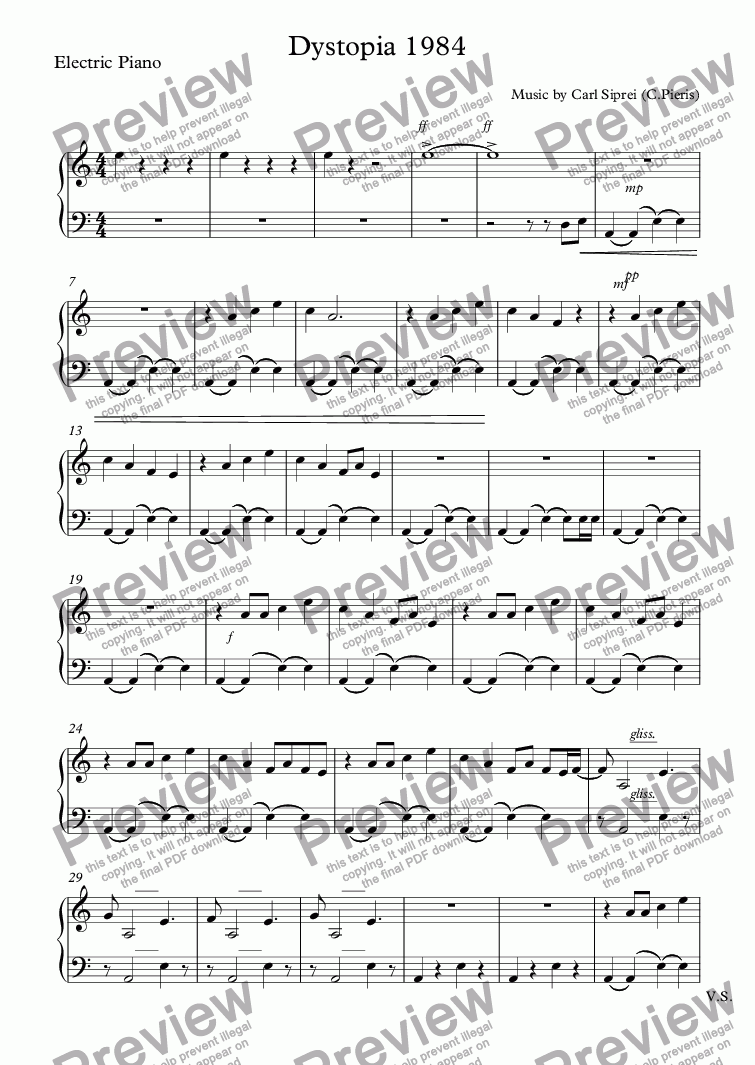 page one of the Electric Piano part from Dystopia 1984